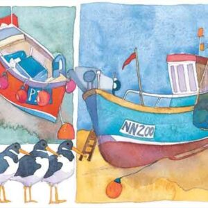 Two Boats & Oystercatchers
