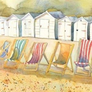 Large Boxed Canvas Print- Beach Huts and Deckchairs-0
