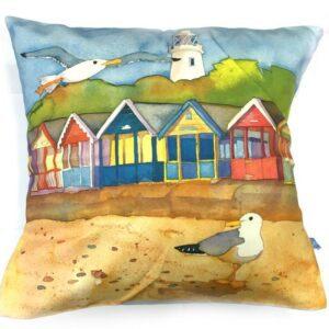 a Row of Beach Huts Cushion-0