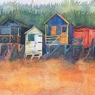Small Boxed Canvas Print- Beach Huts at Wells-0