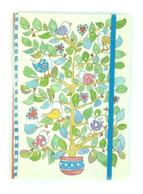 A6 Paperback notebook - Hearts & Trees-0