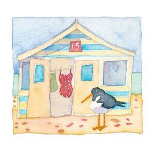 Beach Hut and Oystercatcher