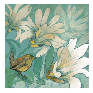 Wren with Magnolia Greetings Card-0
