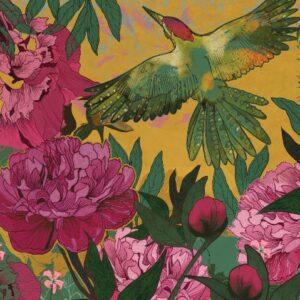 Woodpecker's Peonies Greetings Card-0