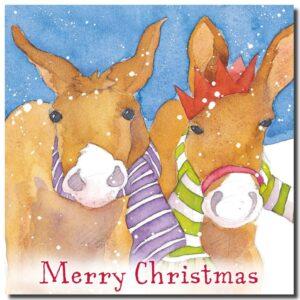 Christmas Donkeys, pack of 6 Christmas cards-0