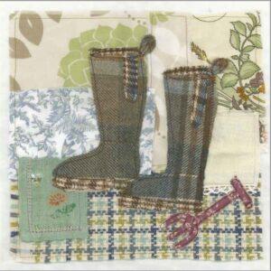 Tweedie Wellington Boots - Greetings card-0