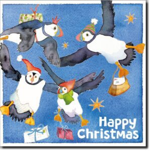 Lots of Flying Puffins Xmas 6 card pack-0