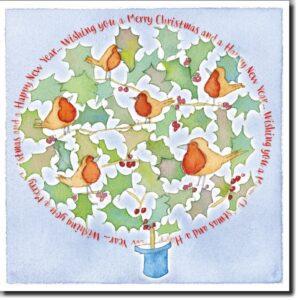 Holly Tree Xmas 6 card pack-0