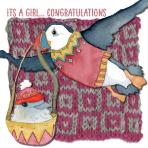 Congrats, its a Girl! - Woolly Puffins Greetings Card-0