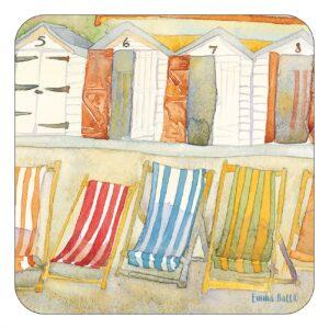 Beach Huts and Deckchairs single coaster-0