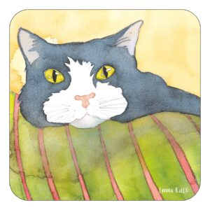 Black and White Cat Single Coaster-0