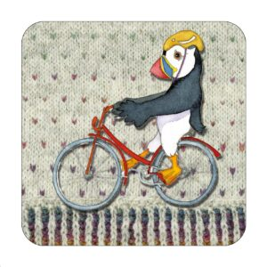 Cycling Woolly Puffins Single Coaster-0
