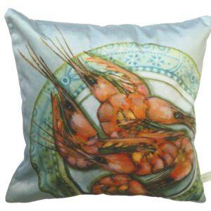 Plated Prawns Velvet Cushion-0