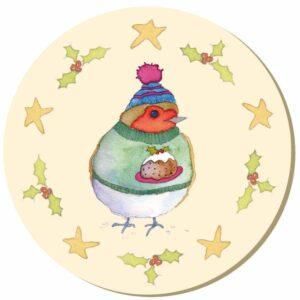 Christmas Robin Single Coaster-0