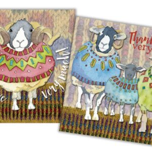 Sheep in Sweaters Thank You Mini Card Pack of 10-0
