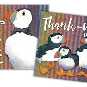 Woolly Puffins Thank You II Mini Card Pack of 10-0