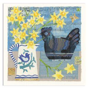 Blue China Hen Greetings Card-0