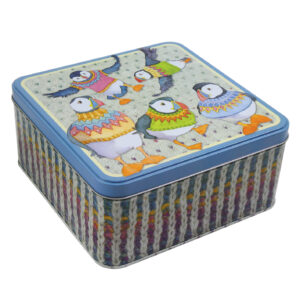 Woolly Puffins Large Square Tin-0