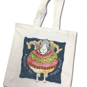 Knitting is my happy place Cotton Canvas Bag-0