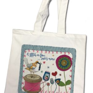 A Stitch in Time Cotton Canvas Bag-0