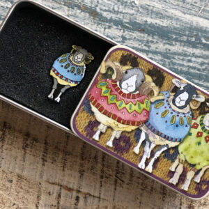 Pin in a Tin- Woolly Sheep in Blue Sweater -9043