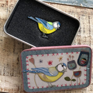 Pin in a Tin-Stitched Birdie Blue Tit-9037