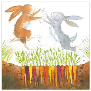 Boxing Hares Greetings Card-0